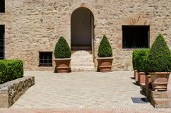 Ancient Tuscan farmhouse. Entrance of a Tuscan farmehouse with plants royalty free stock image