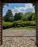 Entrance of a typical japanese garden royalty free stock photo