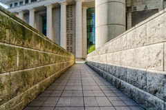 Entrance of underground parking lot in urban central.  royalty free stock image