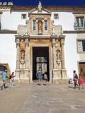 The entrance of University of Coimbra, Portugal Stock Images