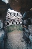 Entrance of a very old tower Nuraghe near Barumini in Sardinia - Italy. royalty free stock photography