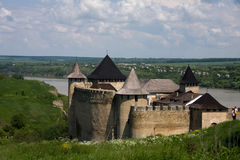 Entrance view of the Khotyn Fortress. Khotyn Royalty Free Stock Image