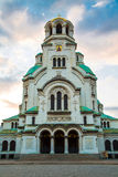 Entrance view of St. Alexander Nevski Cathedral in Sofia, Bulgaria Royalty Free Stock Images