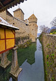 Entrance View to Chillon Castle on Lake Geneva in Switzerland Stock Image