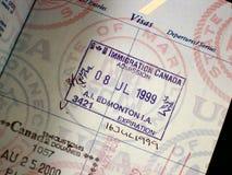 Entrance visa canada. Canada entrance visa in passport stock photography