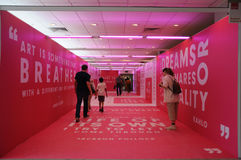 Entrance walkway to Affordable art fair 2017 in Singapore. Docoration and the entrance to the Affordable Art Fair 2017 in Singapore F1 Pit building royalty free stock photo
