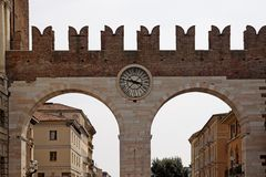 The Entrance and wall of the Piazza Bra in Verona Royalty Free Stock Photography