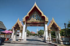 Entrance Wat Chalong Temple. A wide-angle view of  the entrance to the ornately decorated Wat Chalong,a famous Buddhist Temple in Chalong,south of Phuket Royalty Free Stock Image
