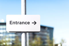 Entrance this way metal sign Stock Images