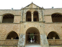 The entrance of the western wall of Arkadi Monastery at Rethymno, Crete Island. Greece Stock Photography