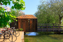 Entrance of Woodberry Wetlands in London. London, UK - 04/05/2016 - Rust architecture design of entrance for the newly-opened Woodberry wetlands nature reserve royalty free stock photos