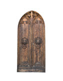 The entrance wooden door in an old Italian house. Isolated on white background. Stock Image