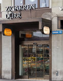 Entrance of the Zigarren Durr store on the Bahnhofstrasse street. Zurich, Switzerland - 6 December, 2015: Entrance of the Zigarren Durr store on the Royalty Free Stock Images