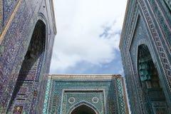 Entrances. Tile decorated doorways in the shakhizinda mausoleum complex in samarkand, uzbekistan royalty free stock photos