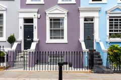 Entrances to some typical english row houses. Seen in Notting Hill, London royalty free stock images