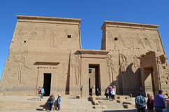 Entrances and Wall of Temple of Philae, Ancient Egypt royalty free stock photos