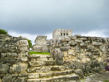 EntranceTulum Mexico. Tulum temple complex Near Cancun, Yucatan area of Mexico. Vacation destination in Mexico. Entrance up the steps towards main temple Royalty Free Stock Photo