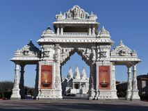 Entranceway. This is a Fall picture of the entranceway to the BAPS Shri Swaminarayan Mandir of Chicago is located in Bartlett, Illinois.  The 27 acre campus Stock Image