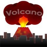Entrando em erupção o vulcão no fundo das casas da cidade Vetor ilustração stock