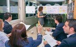 Entraîneur féminin regardant le graphique de gestion tandis que femme d'affaires ayant la question Photographie stock