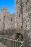 Entrata al castello di Caernarfon in Galles Fotografie Stock