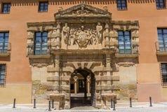 Entrata al municipio storico di Almansa Fotografie Stock Libere da Diritti