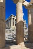 Entrata all'acropoli a Atene, Grecia Fotografie Stock