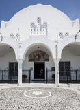 Entrata alla cattedrale a Fira, Santorini Fotografia Stock Libera da Diritti