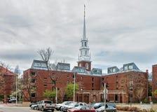Entrata alla chiesa commemorativa nell'iarda Cambridge mA di Harvard Fotografia Stock Libera da Diritti