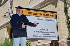 Entrata alla miniera di sale storica in Hallstatt, Austria Immagini Stock Libere da Diritti