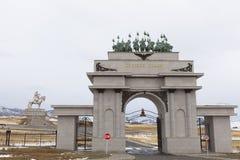 Entrata alla statua ed al museo di Genghis Khaan fotografie stock