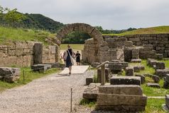 Entrata allo stadio al sito dei primi Olympics ad Olimpia in Grecia fotografia stock libera da diritti
