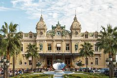 Entrata anteriore di grande casinò a Monte Carlo, Monaco Fotografia Stock Libera da Diritti
