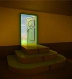 Entrata arrotondata della scala di buio tre arancio Fotografie Stock