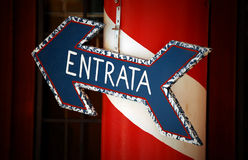 Entrata. A charming, hand-painted entry sign in Venice, Italy Stock Photo