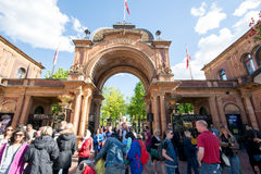 Entrata dei giardini di Tivoli, Copenhaghen fotografia stock