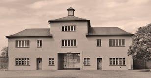 Entrata del campo di concentramento nazista Fotografia Stock