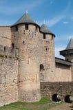 Entrata del castello di Carcassona Fotografia Stock