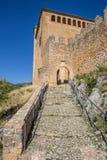 Entrata del castello medievale di Alquezar Fotografia Stock