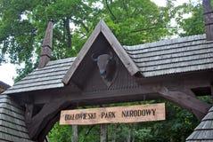 Entrata del parco nazionale di Bialowieza Immagini Stock
