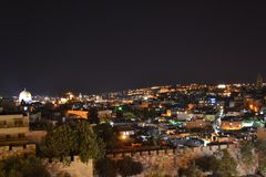 Entrata del portone di Damasco alla vecchia città Gerusalemme Palestina Israele alla notte con le luci durante il Ramadan fotografie stock libere da diritti