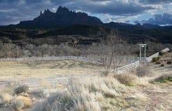 Entrata del ranch verniciata con indicatore luminoso Fotografie Stock