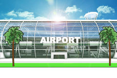 Entrata dell'aeroporto con gli alberi Fotografia Stock Libera da Diritti