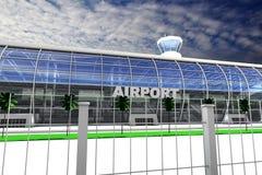 Entrata dell'aeroporto con il recinto Fotografia Stock