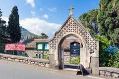 Entrata della Chiesa Anglicana di Taormina Sicilia, Italia Fotografia Stock Libera da Diritti