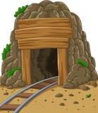 Entrata della miniera del fumetto illustrazione di stock