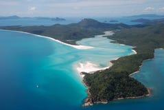 Entrata della spiaggia e della collina di Whitehaven, isole di Pentecoste, Australia Fotografie Stock Libere da Diritti