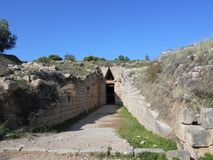 Entrata della tomba, Micene, Grecia fotografia stock libera da diritti
