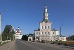 Entrata delle chiese in Gerusalemme e natività di Cristo sulla via di Lenin nella città di Totma immagine stock