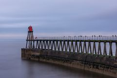 Entrata di porto di Whitby, pilastro orientale e segnale, Yorkshire, Regno Unito Immagini Stock